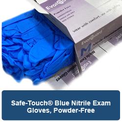 Safe-Touch® Blue Nitrile Exam Gloves, Powder-Free