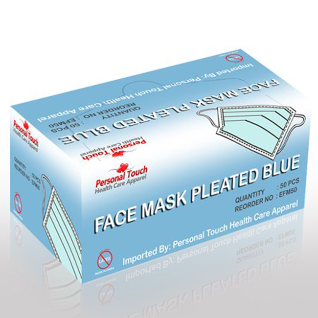 personal touch blue disposable earloop face mask